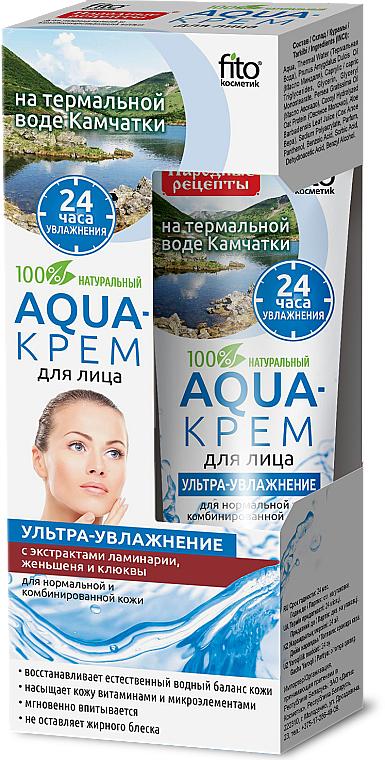 "Aqua-krém na obličej s termální vodou z Kamčatky ""Ultra-hydratační"" s extraktem z hnědých řasy Laminaria, ženšenu a brusinky - Fito Kosmetik"