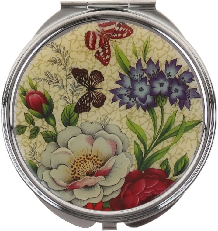 """Kosmetické kapesní zrcátko, """"Motýli"""", 85444, motýli s bílo-modrými květy - Top Choice — foto N1"""
