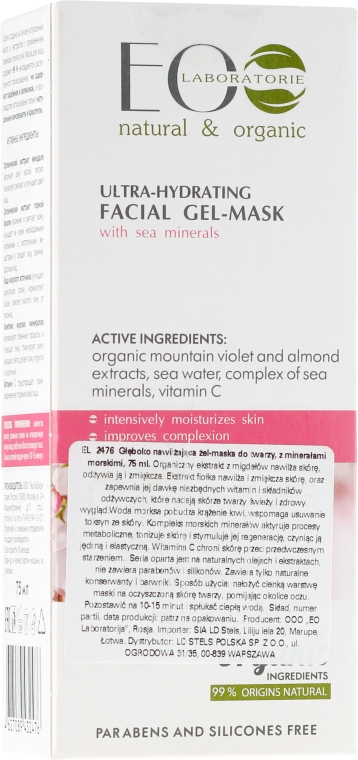 Ultra hydratační gelová maska na obličej - ECO Laboratorie Ultra-Hydrating Facial Gel-Mask With Sea Minerals