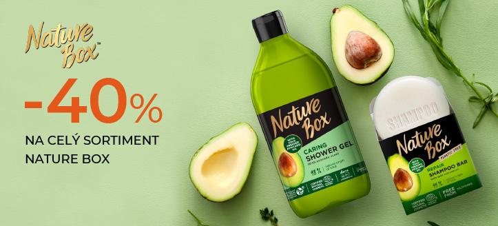 Sleva až 40% na celý sortiment Nature Box. Ceny na webu jsou včetně slev