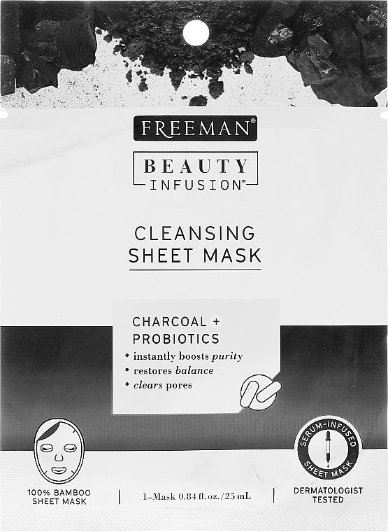 Látková čisticí maska pro obličej s aktivovaným uhlím, probiotiky a sérem - Freeman Beauty Infusion Cleansing Clay Mask Charcoal & Probiotics — foto N1
