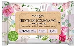 Parfémy, Parfumerie, kosmetika Čistící ubrousky na obličej a tělo s růžovou vodou, 15ks - Marion