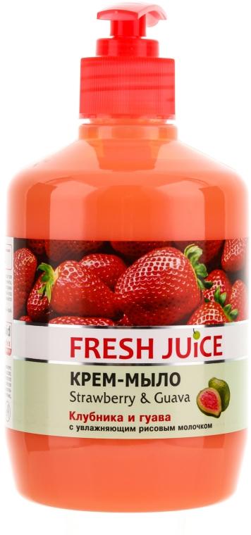 Krémové mýdlo s hydratačním rýžovým mlékem Jahoda a guava s dávkovačem - Fresh Juice Strawberry&Guava