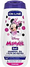 Parfémy, Parfumerie, kosmetika Šampon, sprchový gel a pěna do koupele 3v1 s vůní pudinku - On Line Kids Disney Minnie