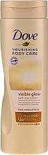 Samoopalovací tělové mléko - Dove Visible Glow Gradual Self-Tan Lotion Fair-Medium Skin — foto N1