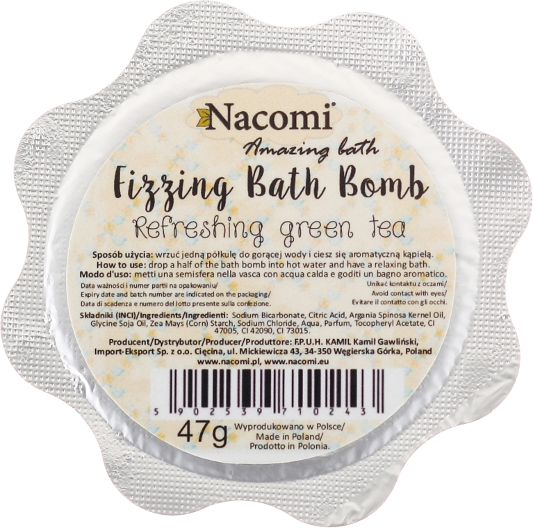 Bomba do koupele - Nacomi Green Tea Bath Bomb — foto N2