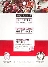 Parfémy, Parfumerie, kosmetika Obnovující látková maska na obličej - Freeman Beauty Infusion Revitalizing Peel-Off Mask Pomegranate + Peptides
