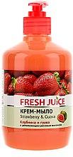 Parfémy, Parfumerie, kosmetika Krémové mýdlo s hydratačním rýžovým mlékem Jahoda a guava s dávkovačem - Fresh Juice Strawberry&Guava