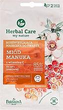 """Parfémy, Parfumerie, kosmetika Maska na obličej """"Med a vitamín C"""" - Farmona Herbal Care Manuka Honey Face Mask"""