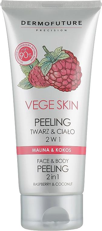 Peeling na obličej a tělo Malina a kokos - DermoFuture Vege Skin Face & Body Peeling Raspberry & Coconut