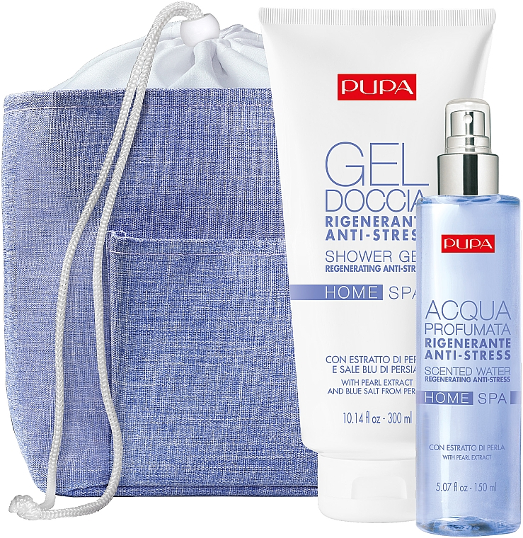 Sada - Pupa Home Spa Regenerating Anti-Stress Pearl Powder (sh/gel/300ml + aroma/water/150ml+ bag)