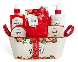 Parfémy, Parfumerie, kosmetika Sada - IDC Institute Vintage Fruits (sh/g/250ml+b/lot/250ml+b/scrub/120ml+salt/100g+spray/100ml+soap/100g+sponge+basket)