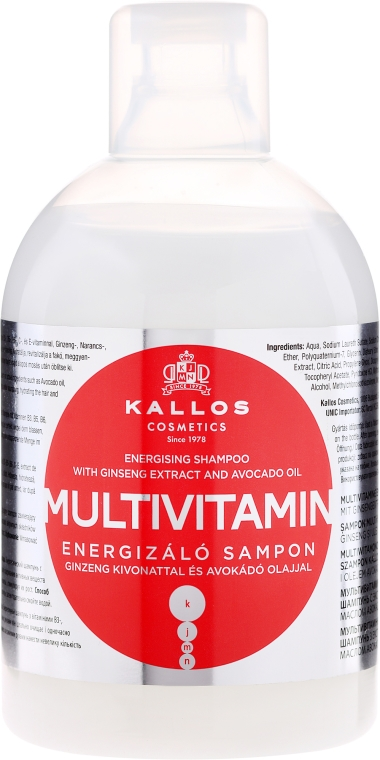 Šampon na vlasy s extraktem z ženšenu a bambuckého másla - Kallos Cosmetics Energising Hair Multivitamin