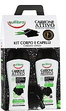 Parfémy, Parfumerie, kosmetika Sada - Equilibra Active Charcoal Detox Bio Box (sh/gel/250ml + shampoo/250ml + b/sponge/1)