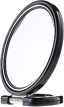 Parfémy, Parfumerie, kosmetika Zrcadlo dvoustranné kulaté 9509, na stojanu, černé, 18,5 cm - Donegal Mirror