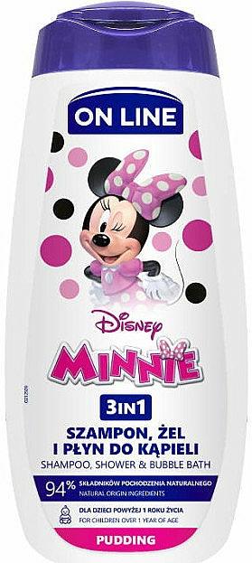 Šampon, sprchový gel a pěna do koupele 3v1 s vůní pudinku - On Line Kids Disney Minnie