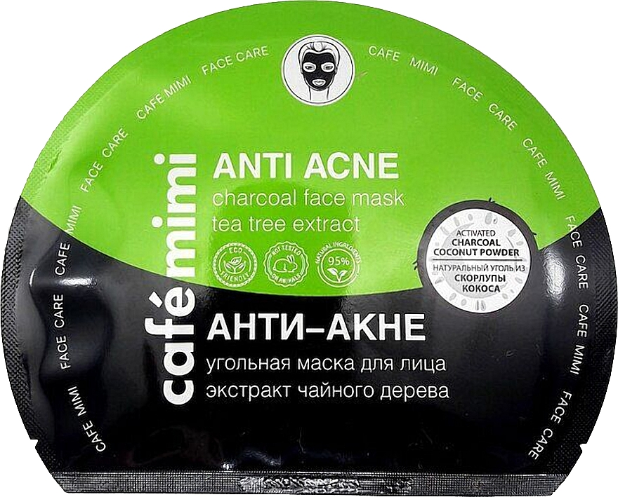 Látková pleťová maska a aktivním uhlím Anti akné - Cafe Mimi Anti Acne Charcoal Face Mask Tea Tree Extract