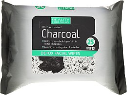 Parfémy, Parfumerie, kosmetika Čistící ubrousky na obličej s aktivním uhlím - Beauty Formulas Charcoal Detox Facical Wipes