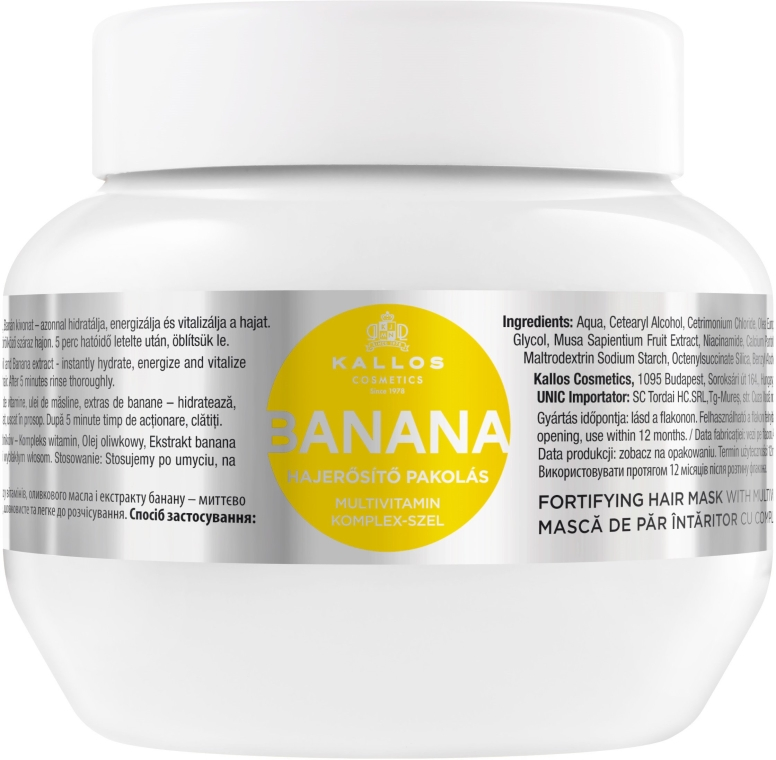 Maska pro zpevnění vlasů s banánovým extraktem - Kallos Cosmetics Banana Mask