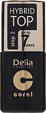 Parfémy, Parfumerie, kosmetika Vrchní lak na nehty - Delia Coral Hybrid Top Coat Gel