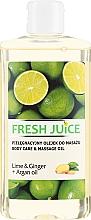 Parfémy, Parfumerie, kosmetika Masážní olej pro péči Limetka a Zázvor + arganový olej - Fresh Juice Energy Lime&Ginger+Argan Oil