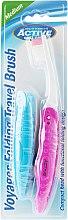 Parfémy, Parfumerie, kosmetika Zubní kartáček, pro cestování, růžový - Beauty Formulas Voyager Active Folding Dustproof Travel Toothbrush Medium