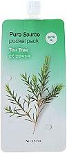 Parfémy, Parfumerie, kosmetika Noční maska na obličej s extraktem čajového dřeva - Missha Pure Source Pocket Pack Tea Tree