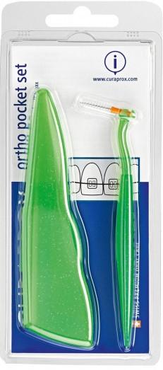 Sada Ortho Pocket Set, zelený - Curaprox (brushes 07,14,18/3pcs + UHS/1pcs + orthod/wax/1pcs + box) — foto N1