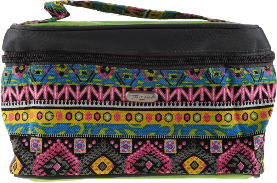 Kosmetická taška čtvercová, 93913, zelená se vzory - Top Choice — foto N1