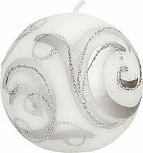 Parfémy, Parfumerie, kosmetika Dekorativní svíčka, koule, bílá s ornamentem, 8 cm - Artman Christmas Ornament