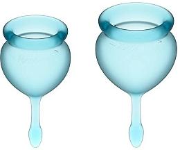 Parfémy, Parfumerie, kosmetika Sada menstruačních kalíšků s ocáskem, modré - Satisfyer Feel Good Menstrual Cup Light Blue