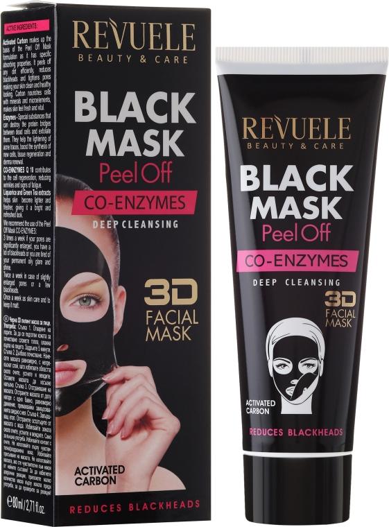 "Černá pleťová maska ""Koenzym Q10"" Revuele - Revuele Black Mask Peel Off Co-Enzymes"