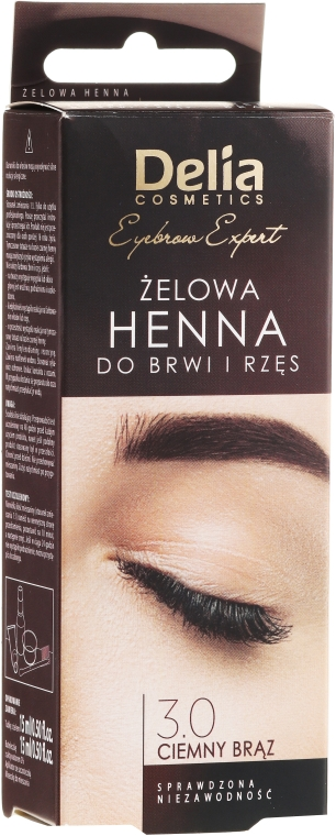Gelová barva na obočí, tmavě hnědá - Delia Eyebrow Tint Gel ProColor 3.0 Dark Brown