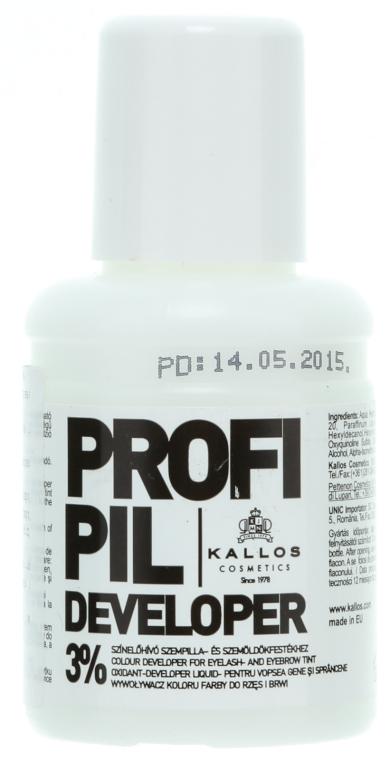 Oxidační činidlo 3% na obočí a řasy - Kallos Cosmetics Profi Pil Developer 3%