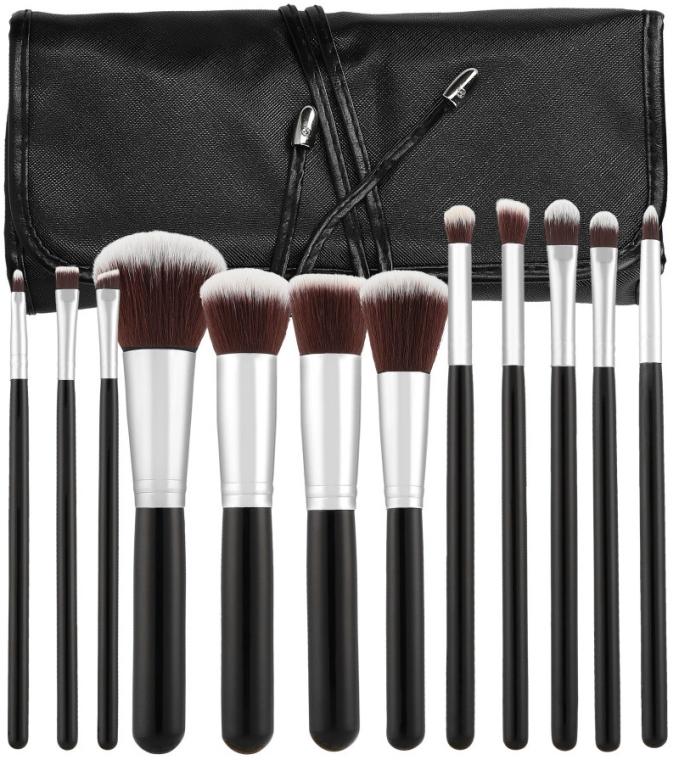 Sada profesionálních make-upových štětců, 12ks, černá - Tools For Beauty