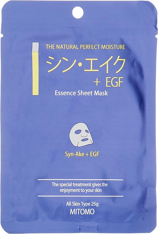 Plátýnková pleťová maska Peptidy z hadího jedu + EGF - Mitomo Essence Sheet Mask Syn-Ake + EGF