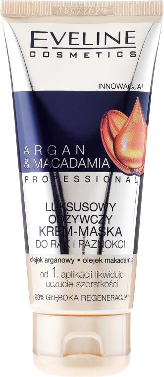 Luxusní výživná krémová maska na ruce a nehty - Eveline Cosmetics Argan & Macadamia Hand Cream