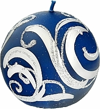 Parfémy, Parfumerie, kosmetika Dekorativní svíčka, koule, modrá s ornamentem, 8 cm - Artman Christmas Ornament