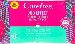 Parfémy, Parfumerie, kosmetika Vlhčené ubrousky Aloe pro intimní hygienu, 20ks - Carefree Duo Effect