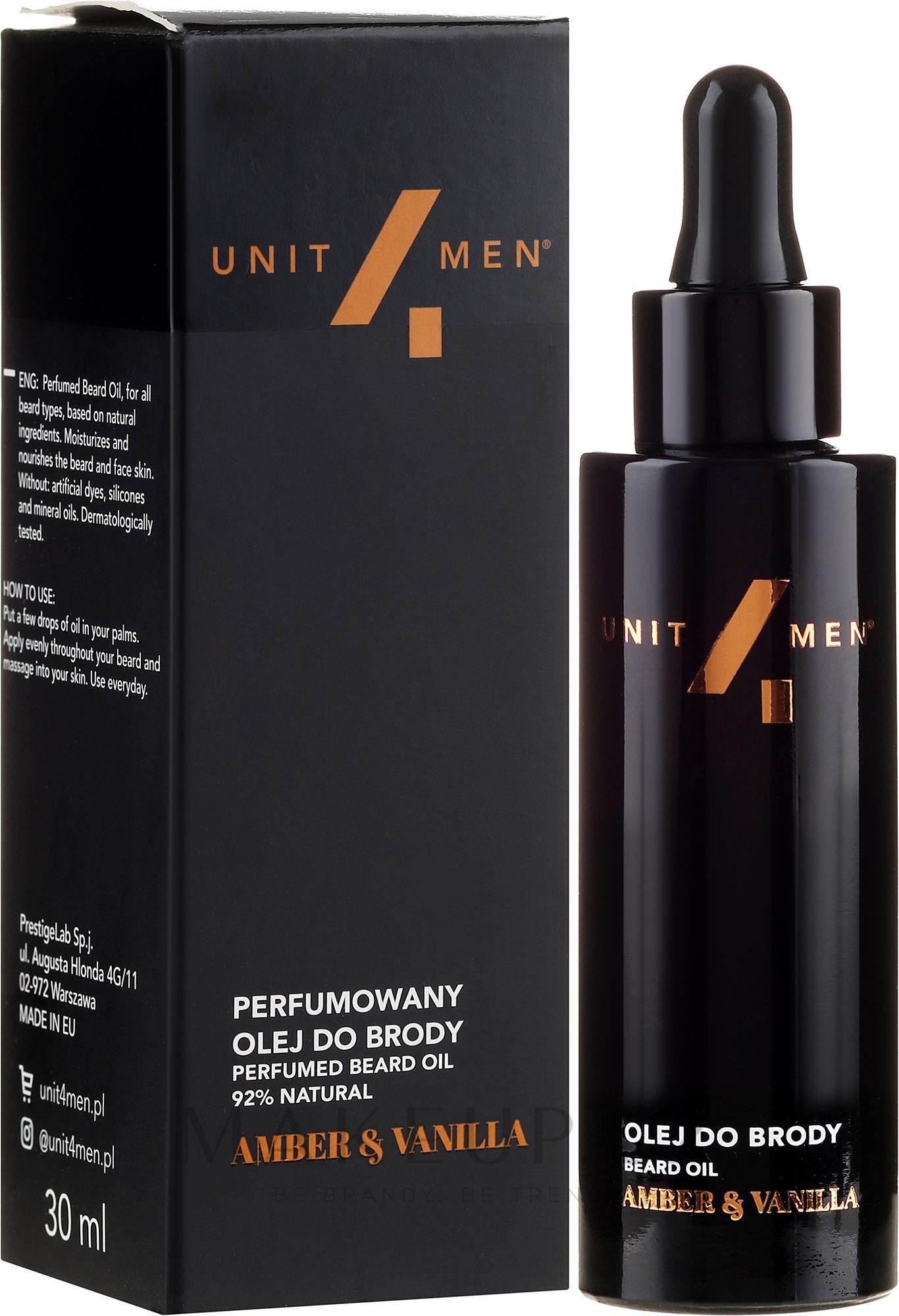 Olej na bradu - Unit4Men Amber&Vanilla Beard Oil — foto 30 ml