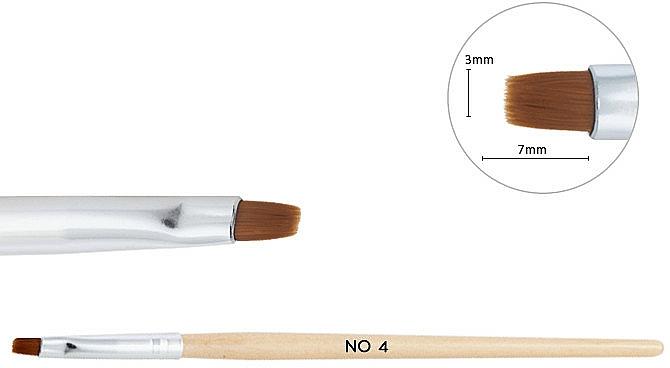 Dřevěný štětec pro gel №4 - NeoNail Professional — foto N2