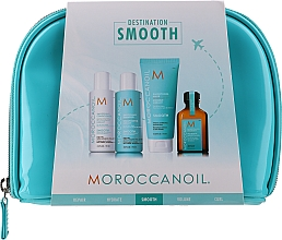Parfémy, Parfumerie, kosmetika Sada - Moroccanoil Smooth & Sleek Travel Kit (shm/70ml + cond/70ml + mask/75ml + oil/25ml + bag)