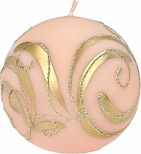 Parfémy, Parfumerie, kosmetika Dekorativní svíčka, koule, růžová s ornamentem, 8 cm - Artman Christmas Ornament