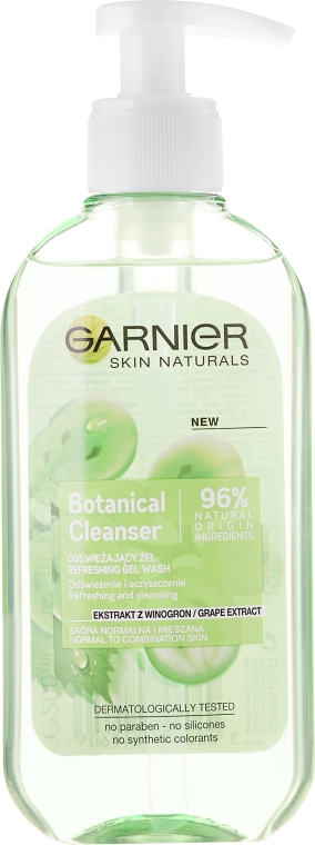 Osvěžující gel na mytí s hroznovým extraktem - Garnier Skin Naturals Botanical Grape Extract Refreshing Gel Wash