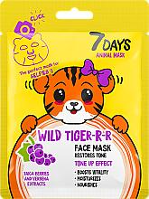 Parfémy, Parfumerie, kosmetika Pleťová maska - 7 Days Animal Wild Tiger-r-r Face Mask