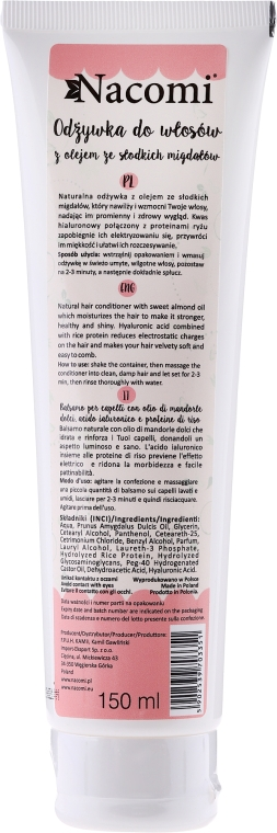 Kondicionér na vlasy - Nacomi Natural With Sweet Almond & Hyaluronic Acid Conditioner — foto N2