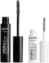 Parfémy, Parfumerie, kosmetika Sada na řasy (mascara 10 ml + base 0,9 ml) - NYX Professional Makeup Double Stacked Mascara (01-Black)
