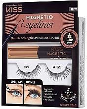 Parfémy, Parfumerie, kosmetika Sada - Kiss Magnetic Eyeliner & Lash Kit Lure (eyeliner/5g + lashes)