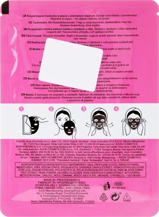 Zesvětlující maska na obličej s extraktem růže - Avon Care Radiant Sheet Mask With Rose — foto N2