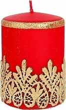 Parfémy, Parfumerie, kosmetika Dekorativní svíčka s krajkou, červená, 7x10 cm - Artman Lace Christmas